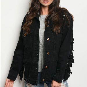 Jackets & Blazers - Black Denim Fringe Jacket